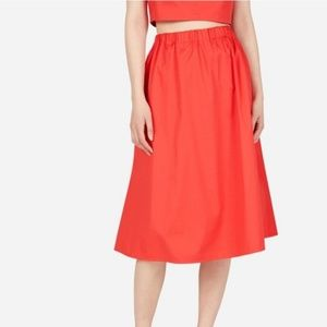 EVERLANE Clean Cotton Pull-On Red Midi Skirt M